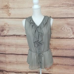 Banana Republic sheer taupe color top with ruffle
